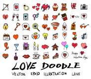 Линия se вектора doodle эскиза руки вычерченная значка цвета элемента любов стоковое изображение