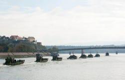 Линкоры во время военного парада Стоковые Фотографии RF