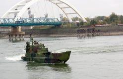 Линкоры во время военного парада Стоковая Фотография