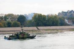 Линкоры во время военного парада Стоковое Фото