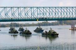 Линкоры во время военного парада Стоковые Изображения