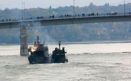 Линкоры во время военного парада Стоковое Изображение