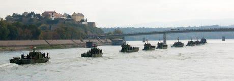 Линкоры во время военного парада Стоковые Изображения RF