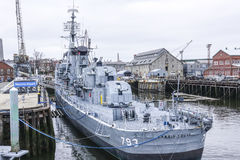 Линкор на дворе военно-морского флота Charlestown в Бостоне - БОСТОНЕ/МАССАЧУСЕТСЕ - 3-ье апреля 2017 Стоковое Изображение RF