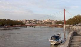 Лион, Франция - 27-ое октября 2013: Висячий мост (Passere Стоковая Фотография