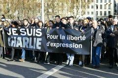 ЛИОН, ФРАНЦИЯ - 11-ОЕ ЯНВАРЯ 2015: Анти- протест терроризма Стоковые Изображения