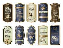 Липкие ярлыки или стикеры для бутылок оливкового масла иллюстрация вектора