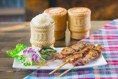 Липкий рис с протыкальником свинины Стоковая Фотография RF