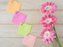 Липкое примечание и розовый цветок 11 Стоковые Изображения