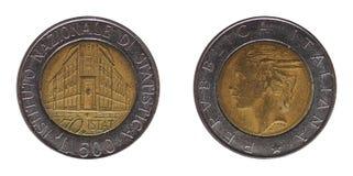 500 лир монетки, Италии Стоковые Фото