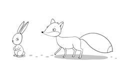 Лиса и зайцы Зима иллюстрация вектора