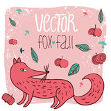 Лиса и яблоки карточки бесплатная иллюстрация