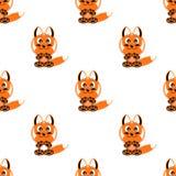 ЛИСА символа животных безшовной предпосылки смешная иллюстрация вектора