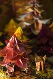 Лиса с ее щенком в лесе origami падения стоковые фото