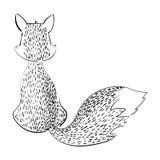 Лиса шаржа сидя с ей назад Стилизованная черно-белая лиса линейное искусство Иллюстрация вектора для детей одичало иллюстрация вектора