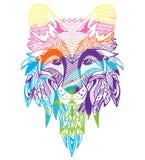 лисица Нарисованный вручную с этнической флористической картиной doodle Страница расцветки - zendala, дизайн для духовной релакса Стоковая Фотография RF