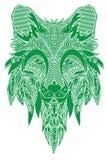 лисица Нарисованный вручную с этнической флористической картиной doodle Страница расцветки - zendala, дизайн для духовной релакса Стоковое Изображение