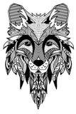 лисица Нарисованный вручную с этнической флористической картиной doodle Страница расцветки - zendala, дизайн для духовной релакса Стоковая Фотография