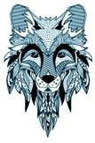 лисица Нарисованный вручную с этнической флористической картиной doodle Страница расцветки - zendala, дизайн для духовной релакса Стоковое Изображение RF