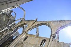 Лиссабон, интерьер известного монастыря делает carmo Стоковое Изображение