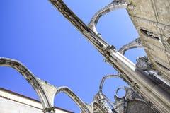 Лиссабон, интерьер известного монастыря делает carmo Стоковое фото RF