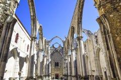 Лиссабон, интерьер известного монастыря делает carmo Стоковые Изображения