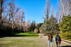 Лиссабон, Португалия - январь 2018 Парк и сад Gulbenkian Туристы идут в парк и изучают свою территорию Яркое теплое солнечное Стоковое фото RF