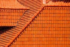 Лиссабон Португалия Datails известной оранжевой предпосылки крыши Стоковое Фото