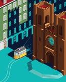 Лиссабон Catedral и желтый ориентир ориентир трамвая Стоковое Изображение RF