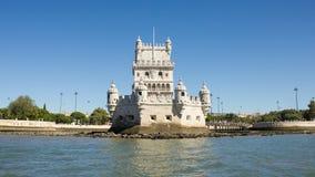 Лиссабон, Torre (башня) de Belém, Португалия, осмотренная от Тахо (Tejo) с южной ориентацией Стоковое Изображение