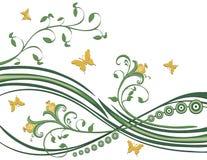листво цветков бабочек Иллюстрация штока