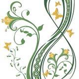 листво цветков бабочек Иллюстрация вектора