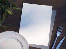 Листы и плита меню перевод 3d иллюстрация штока