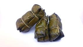 Листья банана тортов риса обернутые пачкой стоковое фото rf