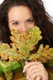 Листья вала осени и сь женщина Стоковое Изображение