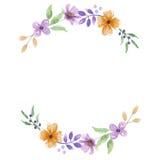 Листья весны свадьбы гирлянды венка лета акварели фиолетовые оранжевые Стоковое Изображение