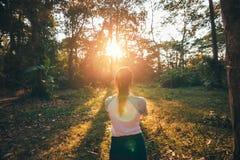 Листья владением девушки и стоять в лесе и заходе солнца стоковое изображение rf