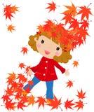 листья девушки падения Стоковые Изображения RF