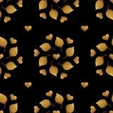 Листья делают по образцу и орнамент сердец Предпосылка золота покрашенная рукой безшовная Иллюстрация абстрактных лист золотая Стоковое Изображение RF