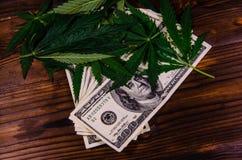 Листья завода конопли и 100 долларовых банкнот дальше сватают Стоковые Фотографии RF