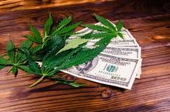 Листья завода конопли и 100 долларовых банкнот дальше сватают Стоковые Изображения RF