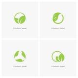 Листья зеленого цвета и логотип экологичности Стоковое Изображение