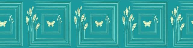 Листья и бабочки цитруса руки вычерченные чувствительные в крыть черепицей черепицей дизайне границы Безшовная картина вектора на иллюстрация штока