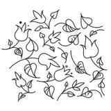 Листья и цветки черно-белые Стоковая Фотография RF