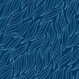 Листья на голубой предпосылке vector безшовное абстрактное нарисованное вручную Стоковое Изображение RF