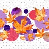 Листья осени акварели, круг формируют на минимальной предпосылке текстур doodle Стоковое Изображение