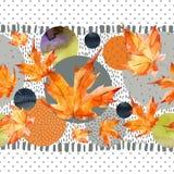 Листья осени акварели, круг формируют на минимальной предпосылке текстур doodle Стоковая Фотография