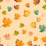 Листья осени безшовная картина, предпосылка вектора Красный, желтый и зеленый кленовый лист, для дизайна обоев, ткань бесплатная иллюстрация