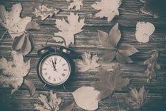 Листья осени и будильник на деревянном столе Стоковое Изображение