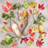 Листья осени и золотые ботинки Положение квартиры моды Стоковая Фотография RF